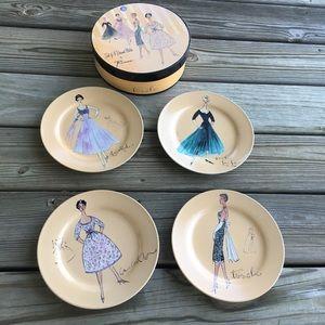 Set of 4 Dessert Plates 1950's Fashion Models